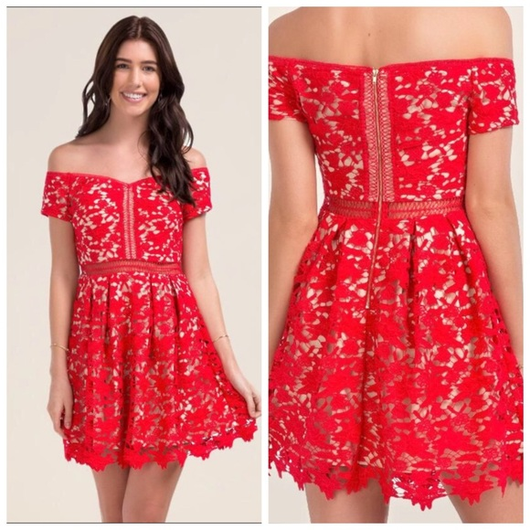 2bfca02044e1 Francesca's Collections Dresses & Skirts - Francesca's Red Floral Lace Off  The Shoulder Dress